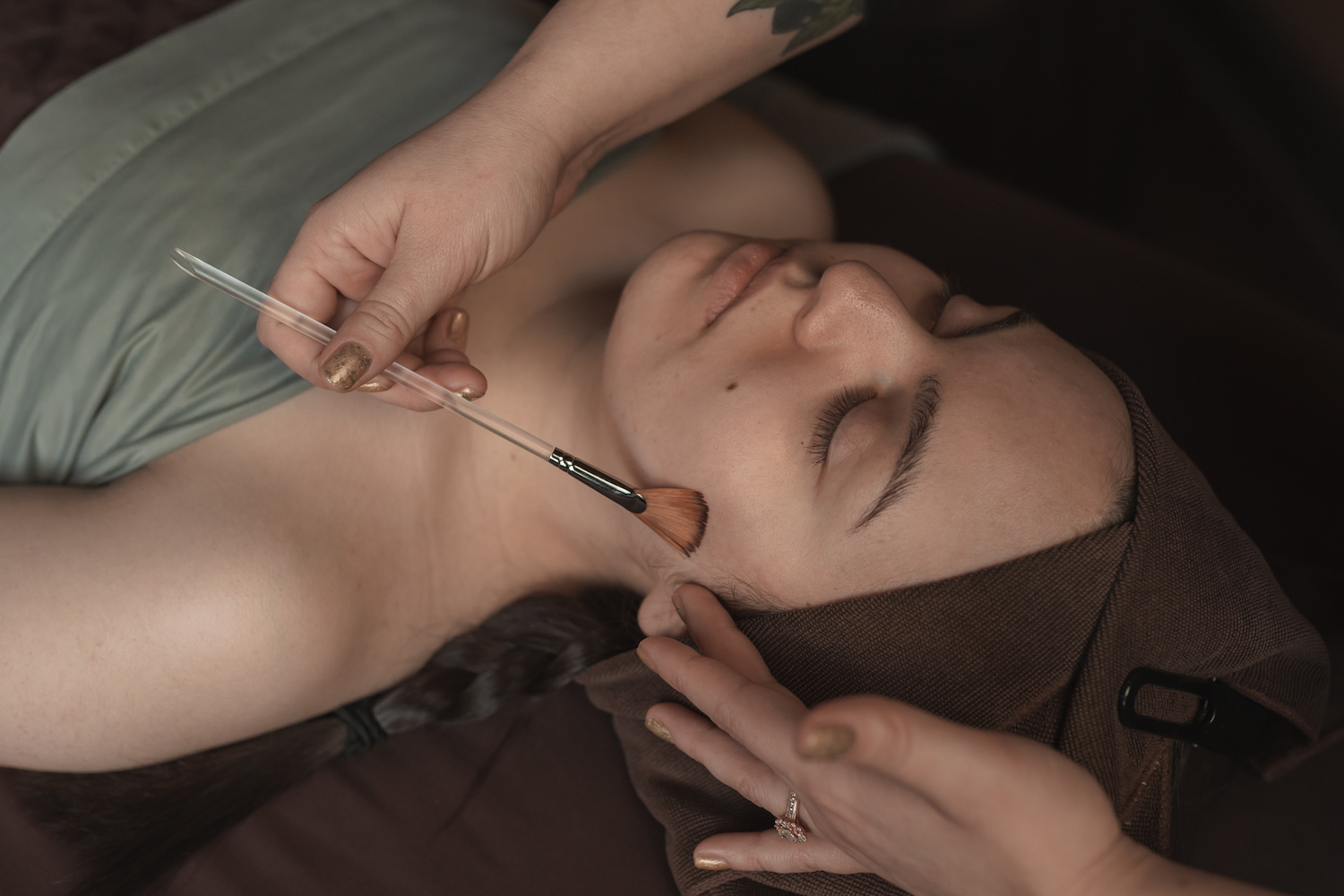 Facial with a brush
